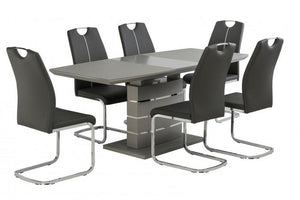 Argenta Grey High Gloss 140-180cm Dining Set + 6 Chairs
