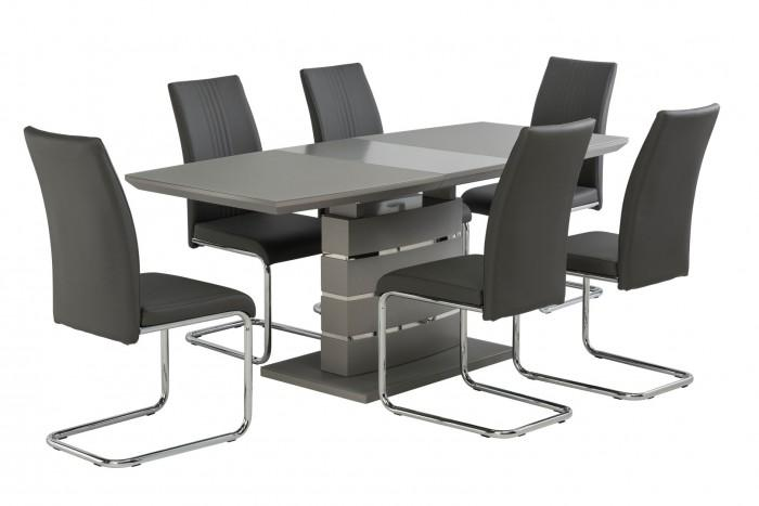 Argenta High Gloss 140-180cm Dining Set + 6 Monaco Chairs