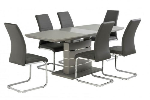 Argenta High Gloss 140-180cm Dining Set + 6 Soho Chairs