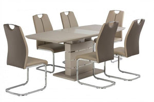 Argenta Latte High Gloss 140-180cm Dining Set + 6 Chairs