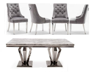 Arturo Grey 160CM Dining Table and Knightsbridge Plush Velvet Dining Chairs