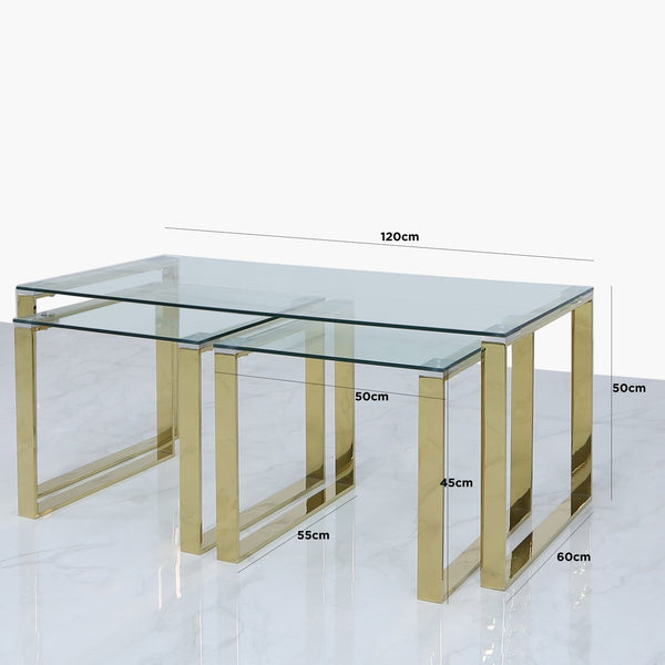 Value Nest of 3 Tables - 1 Coffee and 2 End Tables - Gold - AR Furnishings - Specialists In Bringing Luxury Into Your Home.