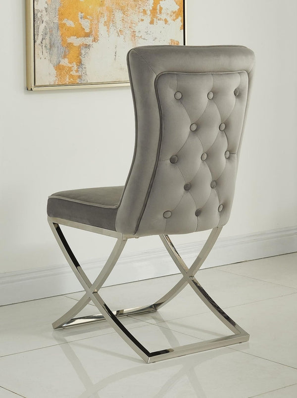 Belgravia Grey French Velvet Button Back Dining Chair With Chrome Legs - AR Furnishings - Specialists In Bringing Luxury Into Your Home.