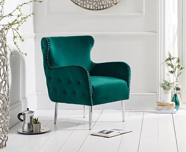 Bina Velvet Accent Chair - AR Furnishings - Specialists In Bringing Luxury Into Your Home.