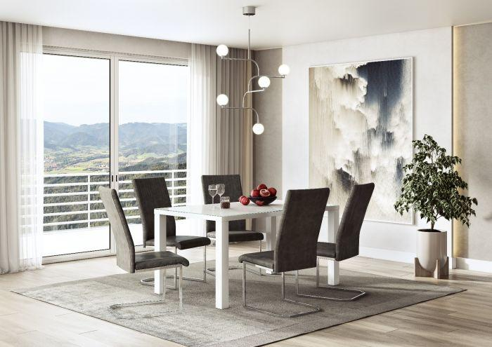Diego Grey Leather Dining Chair - AR Furnishings - Specialists In Bringing Luxury Into Your Home.