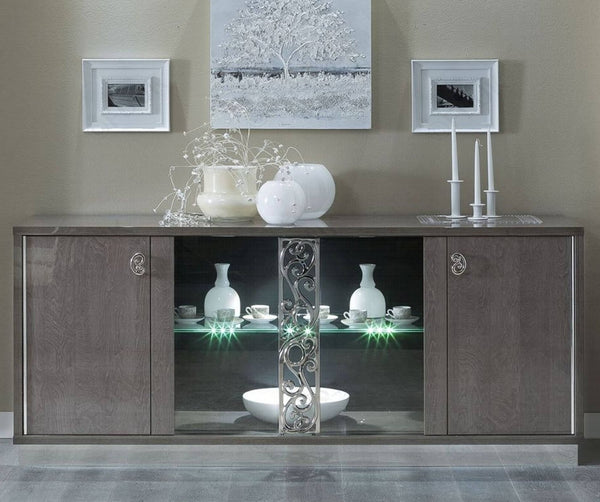 Platinum Day Glamour Italian High Gloss Buffet Vitrine with Glass Door - AR Furnishings - Specialists In Bringing Luxury Into Your Home.
