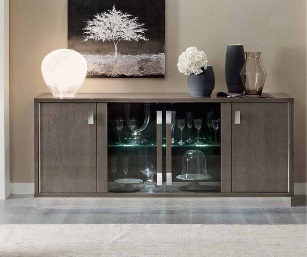Platinum Day Slim Italian High Gloss Buffet Vitrine with Glass Door - AR Furnishings - Specialists In Bringing Luxury Into Your Home.