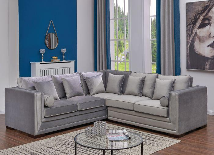 Valiona Silver Corner Suite - Large - AR Furnishings - Specialists In Bringing Luxury Into Your Home.