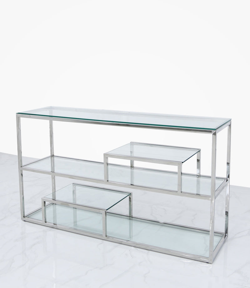Value Glass 3 Tier Console Table - Chrome - AR Furnishings - Specialists In Bringing Luxury Into Your Home.