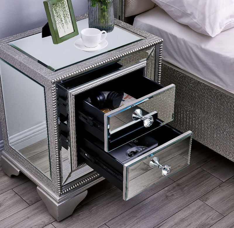 Sofia 2 Drawer Lamp Bedside Table - AR Furnishings - Specialists In Bringing Luxury Into Your Home.