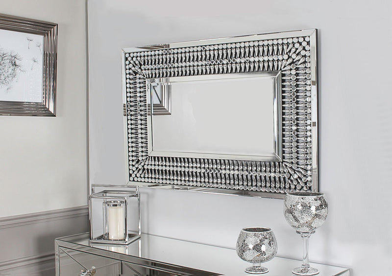 Crystal 4 Door Sideboard + Rectangular Mirror Set - AR Furnishings - Specialists In Bringing Luxury Into Your Home.