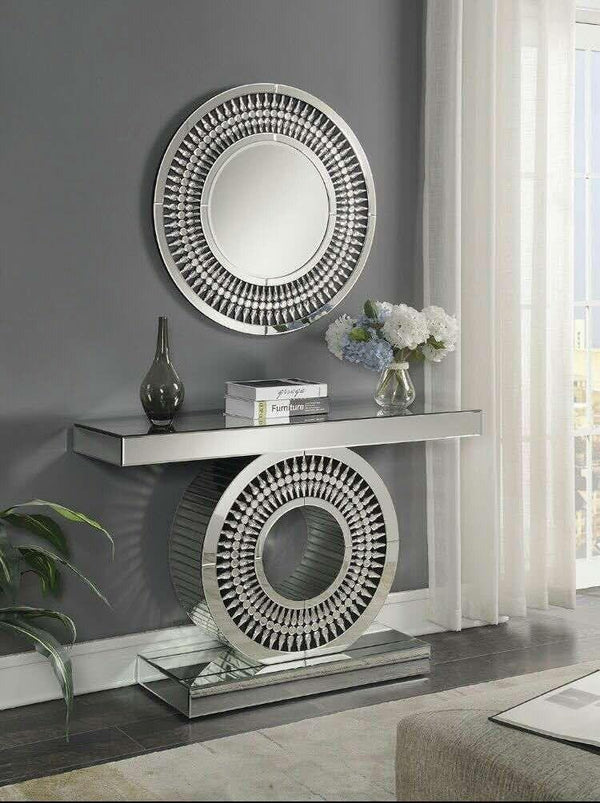 Crystal 3ft Round Mirror - AR Furnishings - Specialists In Bringing Luxury Into Your Home.