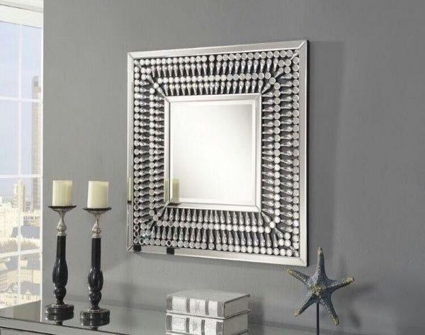Crystal 4 Door Sideboard + Square Mirror Set - AR Furnishings - Specialists In Bringing Luxury Into Your Home.
