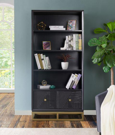 Orlando Black Bookcase - AR Furnishings - Specialists In Bringing Luxury Into Your Home.