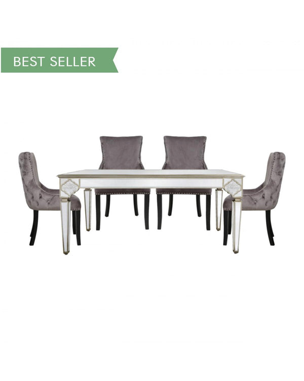 Mara Moroccan Gold 180cm Mirrored Dining Table + 4 Tufted Back Grey Chairs - AR Furnishings - Specialists In Bringing Luxury Into Your Home.