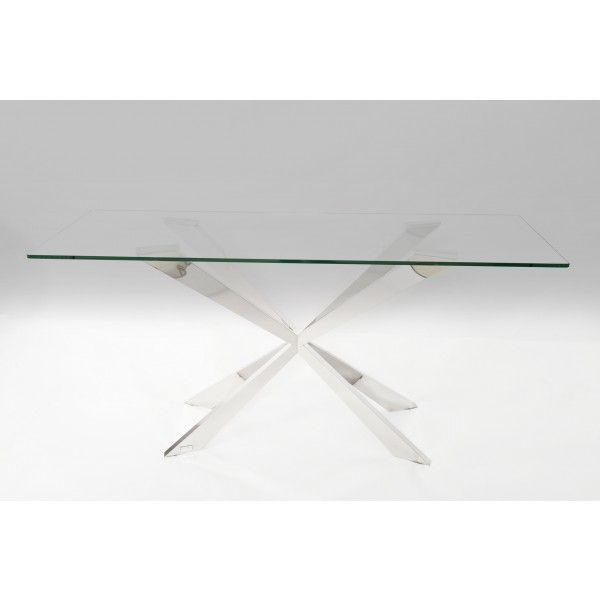 Gabriella Glass and Stainless Steel Dining Table - AR Furnishings - Specialists In Bringing Luxury Into Your Home.