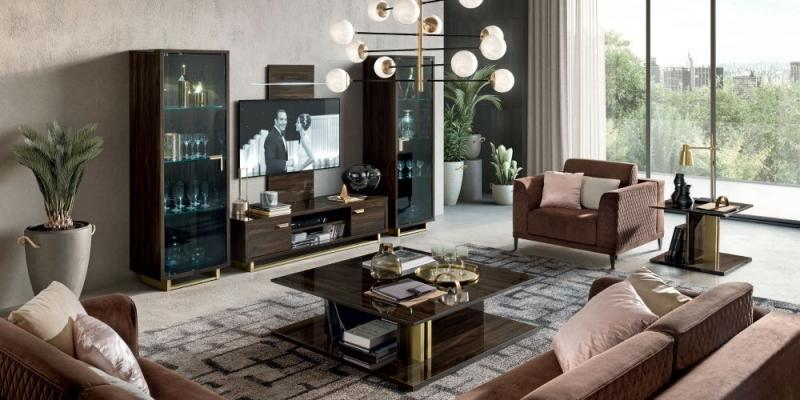 Volare Day Walnut Italian TV Cabinet - AR Furnishings - Specialists In Bringing Luxury Into Your Home.