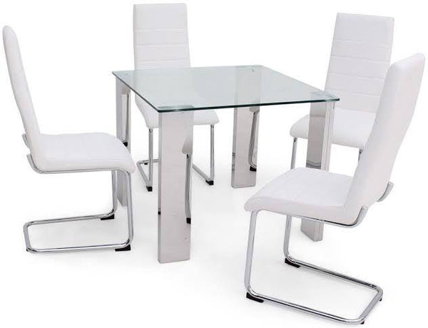 Torelli Dakota Square Clear Glass Dining Table + 4 Hugo Chairs - AR Furnishings - Specialists In Bringing Luxury Into Your Home.