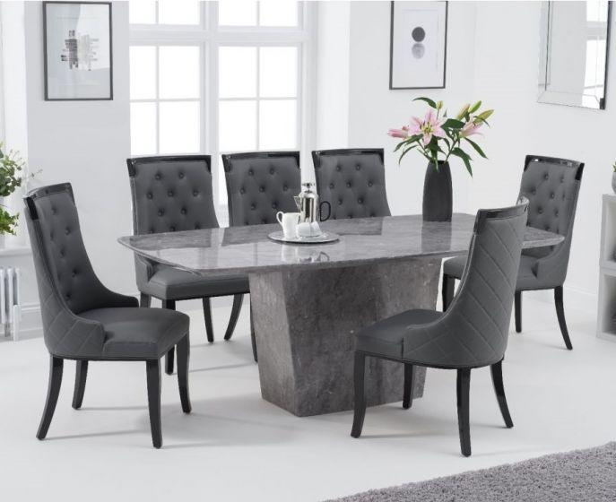 Fariah 200cm Light Grey Marble Dining Table - AR Furnishings - Specialists In Bringing Luxury Into Your Home.