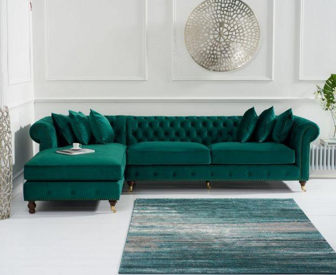 Fiona Green Velvet Left Facing Chesterfield Sofa