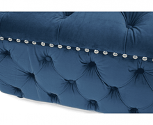 Load image into Gallery viewer, Fiona Blue Velvet Square Footstool