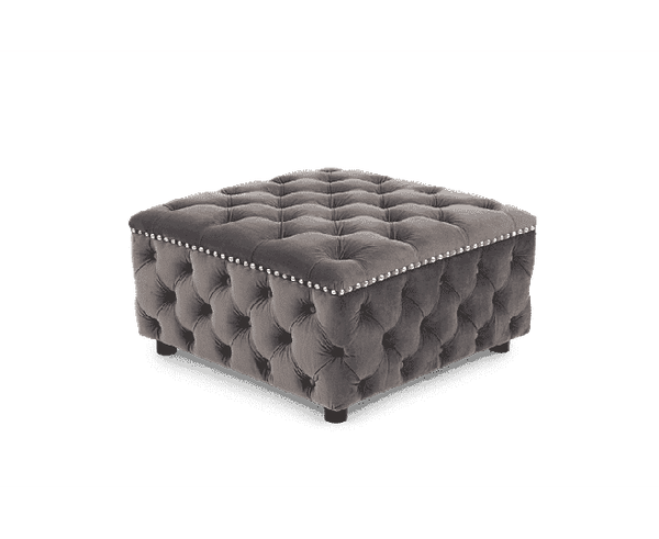 Fiona Velvet Square Footstool - AR Furnishings - Specialists In Bringing Luxury Into Your Home.