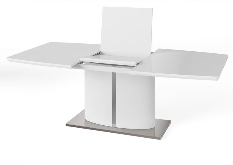 TORELLI FLAVIO WHITE HIGH GLOSS EXTENDING DINING TABLE 160CM - 220CM