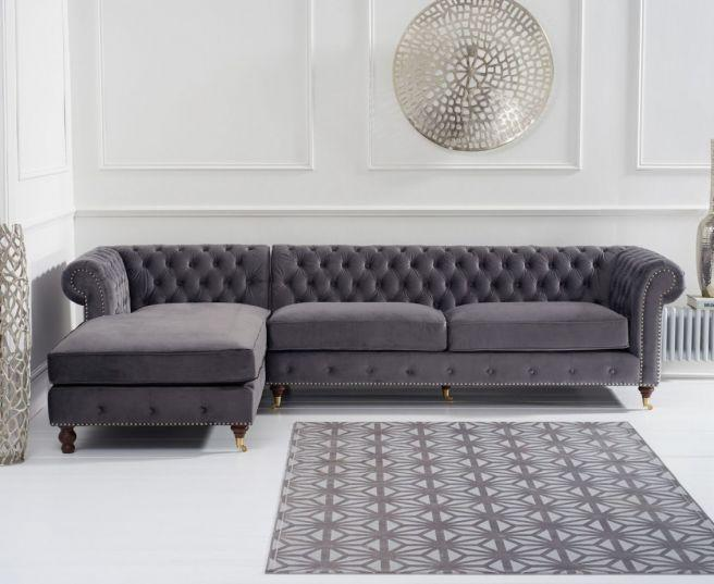 Fiona Grey Velvet Left Facing Chesterfield Sofa