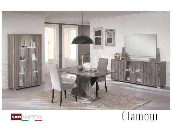 Glamour Grey Walnut 4 Door Sideboard with LED Light - AR Furnishings