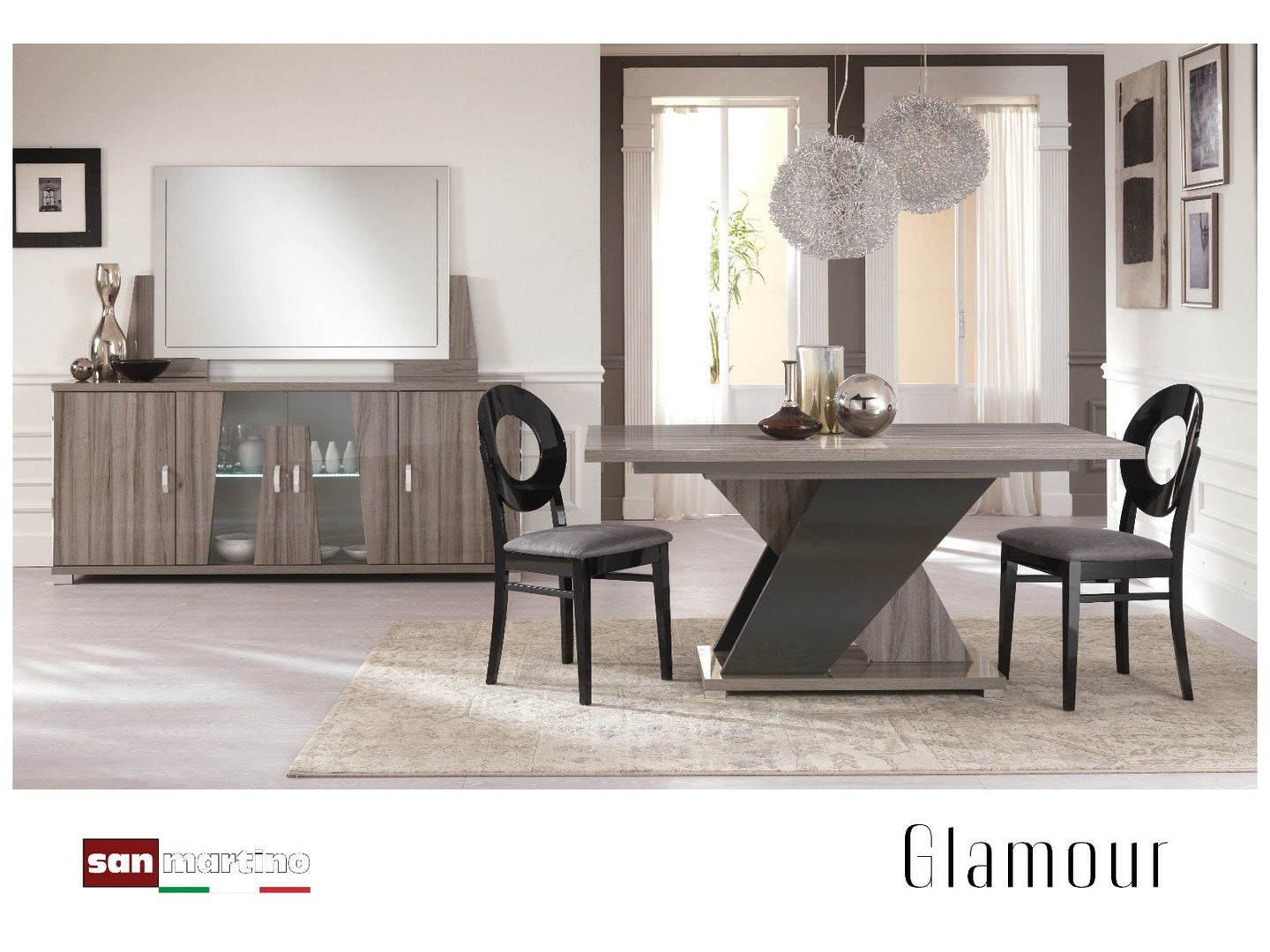 Glamour Grey Walnut 160-200cm Extending Dining Table