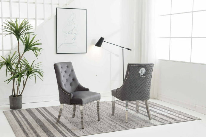 Chelsea Grey Quilted Velvet Chrome Leg Lion Knockerback Dining Chair