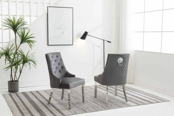 Chelsea Grey Quilted Velvet Chrome Leg Lion Knockerback Dining Chair - AR Furnishings - Specialists In Bringing Luxury Into Your Home.