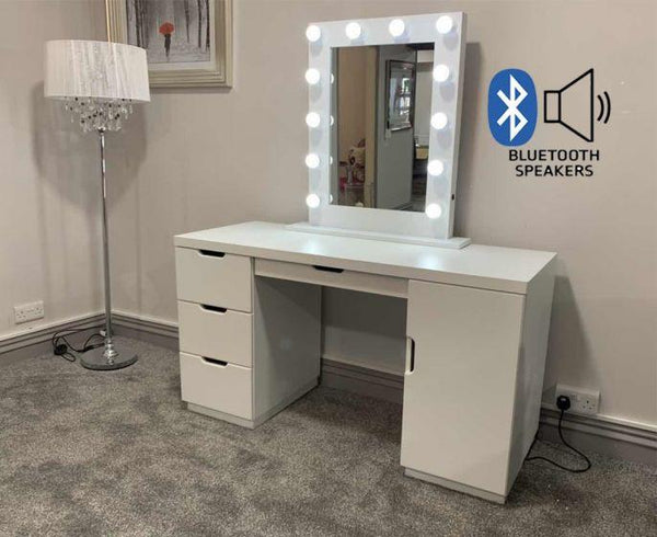 LA Dressing Table & White Desktop Hollywood Mirror with Bluetooth Speaker - AR Furnishings - Specialists In Bringing Luxury Into Your Home.