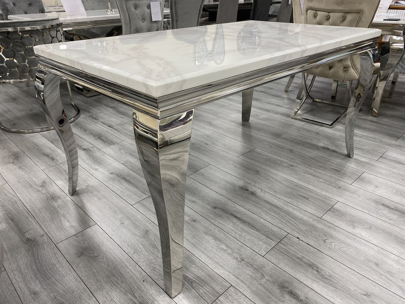 Louis White Marble 150CM Dining Table + Light Grey Florence Button Velvet Chairs