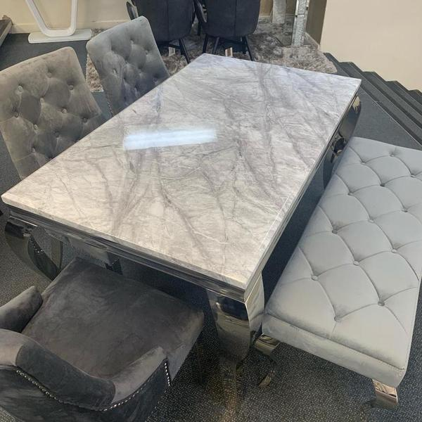 Louis Grey Marble Dining Table Sizes Available - AR Furnishings - Specialists In Bringing Luxury Into Your Home.