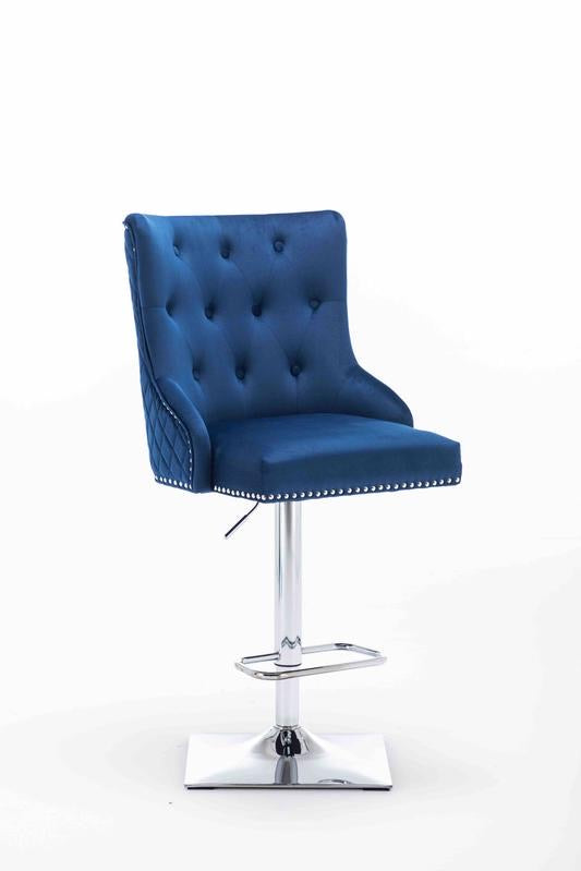Chelsea Blue Quilted French Velvet Lion Knockerback Bar Stool - AR Furnishings - Specialists In Bringing Luxury Into Your Home.