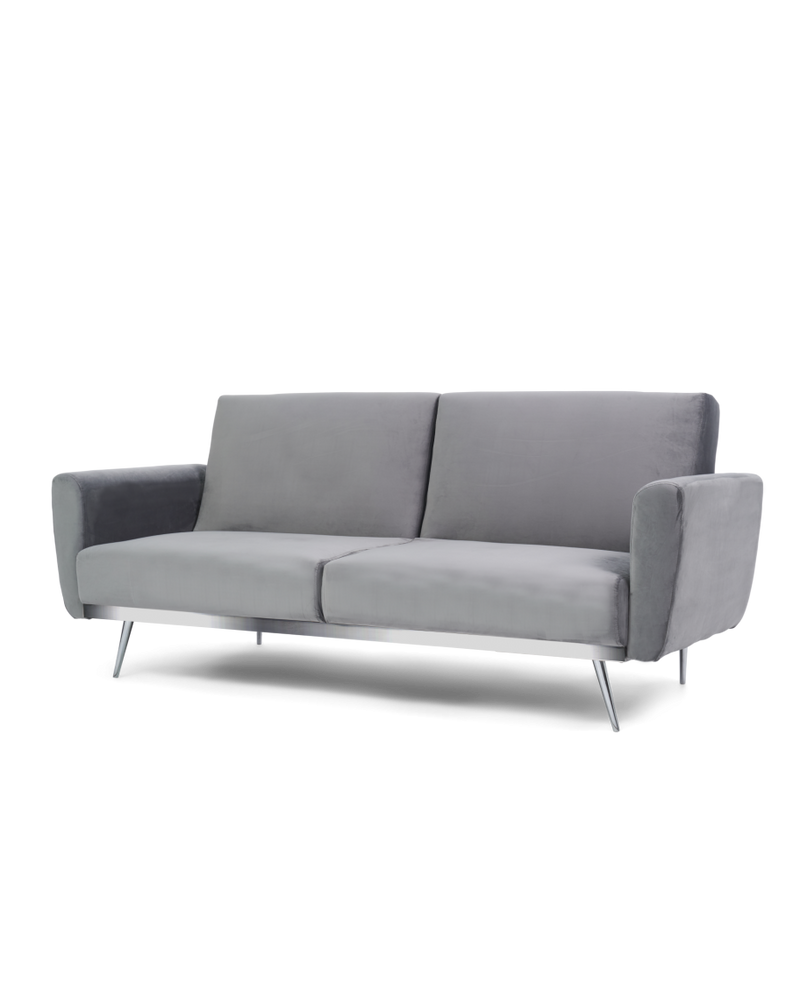 Elsa Grey Velvet Sofa Bed - AR Furnishings - Specialists In Bringing Luxury Into Your Home.