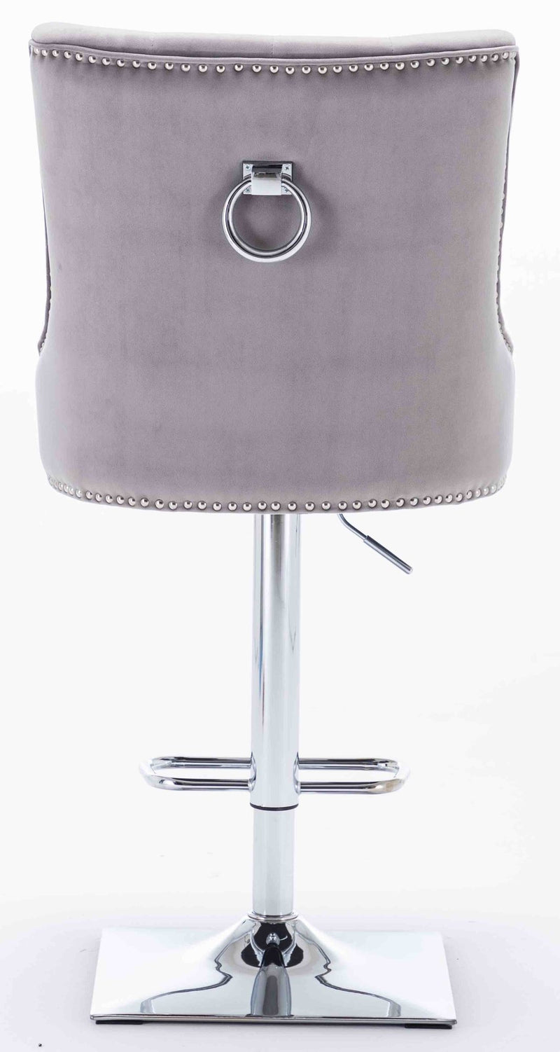 Knightsbridge Light Grey French Velvet Chrome Ring Bar Stool - AR Furnishings - Specialists In Bringing Luxury Into Your Home.