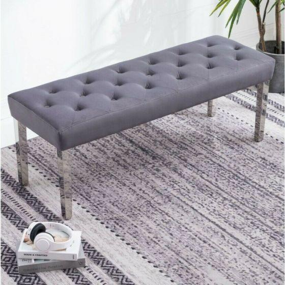 Knightsbridge Dark Grey French Velvet Bench With Chrome Legs - AR Furnishings - Specialists In Bringing Luxury Into Your Home.