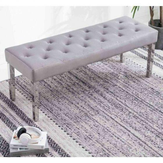Knightsbridge Silver French Velvet Bench With Chrome Legs - AR Furnishings - Specialists In Bringing Luxury Into Your Home.