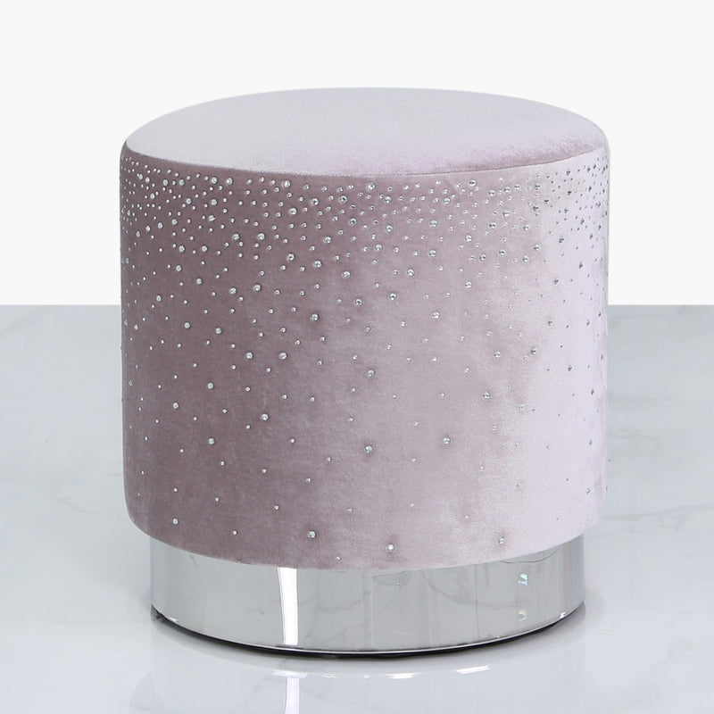 Lavender Round Stool With Sparkle Pattern - AR Furnishings - Specialists In Bringing Luxury Into Your Home.