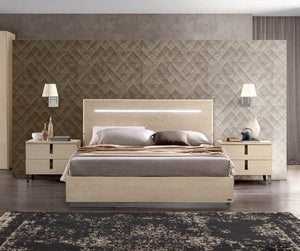 Ambra Sand Birch Finish Italian Bed Frame - ImagineX Furniture & Interiors