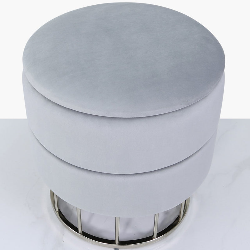 Grey Round Ottoman Stool - AR Furnishings - Specialists In Bringing Luxury Into Your Home.
