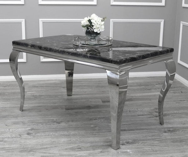 Louis 140cm Black Marble Dining Table & Lucy Grey Lion Knocker Plush Velvet Chairs