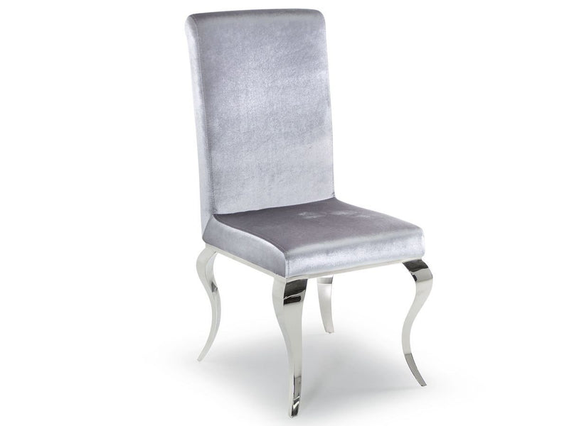 Louis Silver Velvet Dining Chair - AR Furnishings - Specialists In Bringing Luxury Into Your Home.