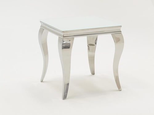 Louis White Tempered Glass End Table - ImagineX Furniture & Interiors
