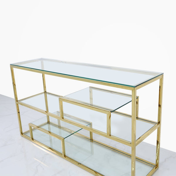 Value Glass 3 Tier Console Table - Gold - AR Furnishings - Specialists In Bringing Luxury Into Your Home.