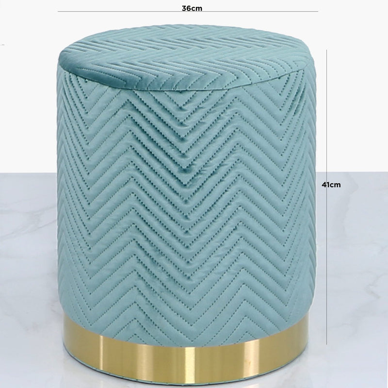 Mint Green Patterned Round Footstool - AR Furnishings - Specialists In Bringing Luxury Into Your Home.