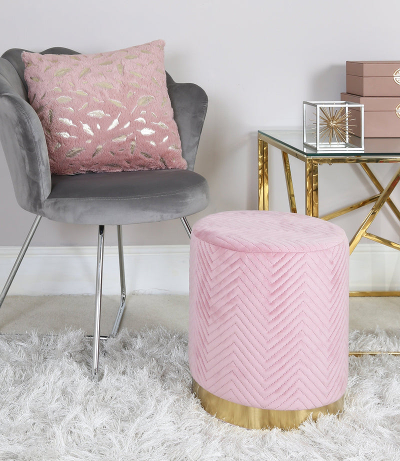 Pink Patterned Round Footstool - AR Furnishings - Specialists In Bringing Luxury Into Your Home.