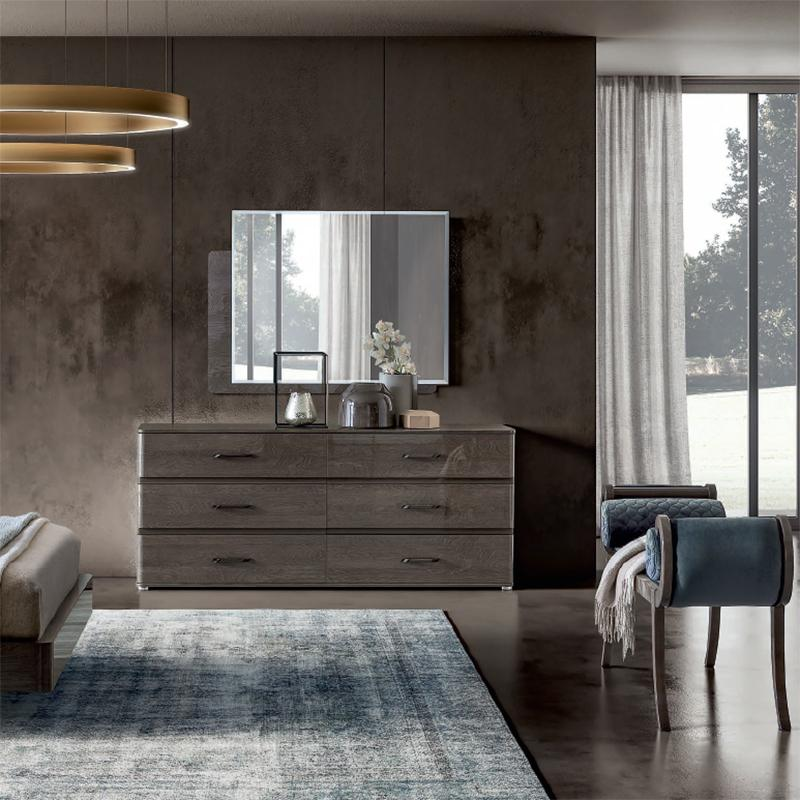 Maia Silver Birch High Gloss 6 Drawer Chest of Drawers - AR Furnishings - Specialists In Bringing Luxury Into Your Home.